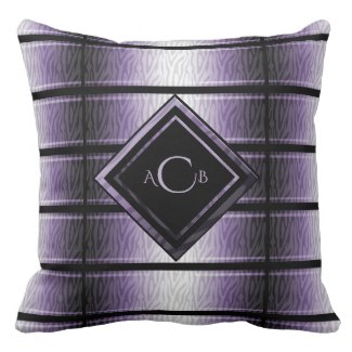 Purple Zebra Monogram Throw Pillow